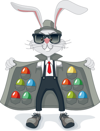 felony: Funny Rabbit with Contraband Easter Eggs Vector Cartoon Illustration