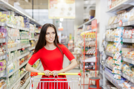 retail chain: Happy Woman Shopping  at The Supermarket Stock Photo