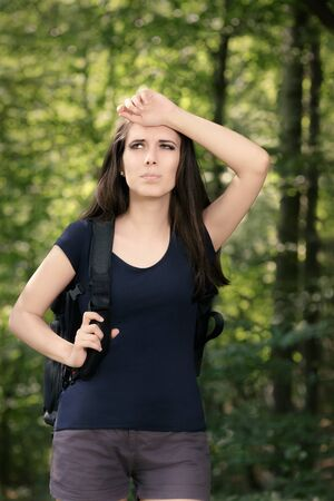disoriented: Disoriented Hiking Girl with Travel Backpack