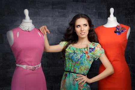 feminine: Elegant Woman in Fashion Store