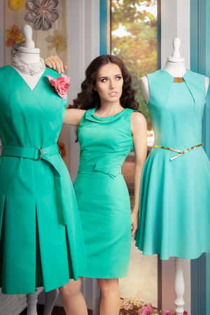 colorful dress: Elegant Woman in Fashion Store