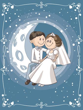 gefesselt: Braut und Bräutigam sitzen auf dem Mond Cartoon