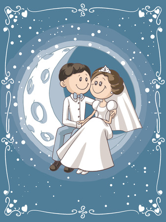 Bride and Groom Sitting on the Moon Cartoon Illustration