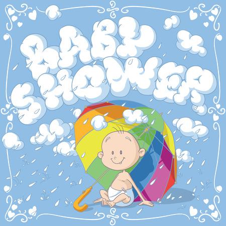 Baby Shower Vector Cartoon Invitation Ilustração