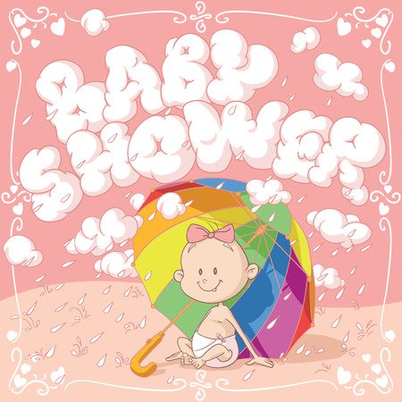 word game: Baby Shower Vector Cartoon Invitation Illustration