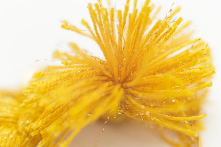 Macro Yellow Yarn Tassel Stock Photo