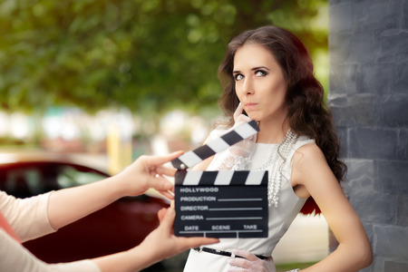 performance art: Actress Thinking About Next Line During Movie Shoot