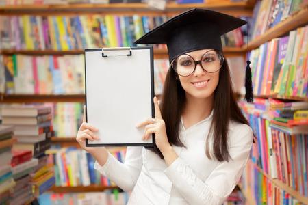Happy School Student Holding Blank Clipboard