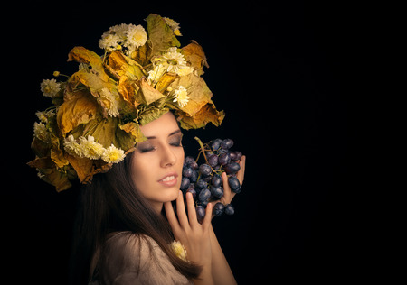 glamour: Autumn Woman Beauty Portrait with Grape Stock Photo
