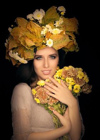 exquisite fairy: Autumn Woman Beauty Portrait with  Flower Bouquet Stock Photo
