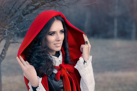 hooded: Red Hooded Woman Fairytale Portrait Stock Photo