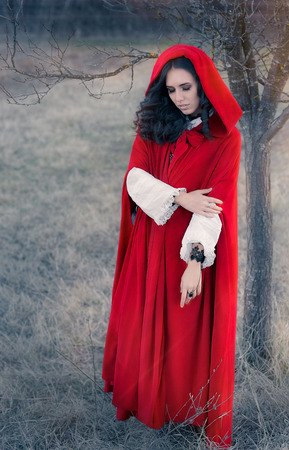 Red Hooded Woman Fairytale Portrait Stock Photo