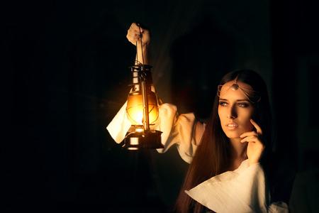 courageous: Beautiful Medieval Princess Holding Lantern