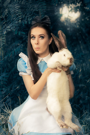 woman surprise: Funny Girl Costumed as Alice in Wonderland with The White Rabbit