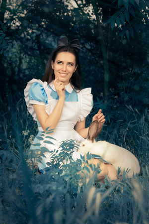 illogical: Girl Costumed as Alice in Wonderland with The White Rabbit