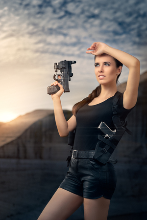 action movie: Powerful Woman Holding Gun Action Movie Style