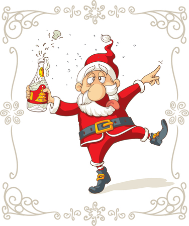 tomando alcohol: Dancing Cartoon Santa bebido Vectores
