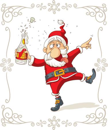 Drunk Santa Dancing Cartoon Vettoriali