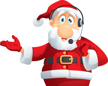 christmas cute: Santa Claus Call Center Vector Cartoon Illustration