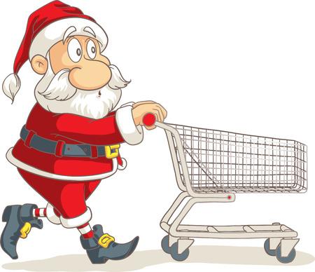 shopping buggy: Santa Claus with Empty Shopping Cart Vector Cartoon