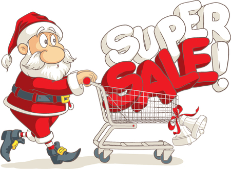 Santa Claus Super Sale Vector Cartoon  イラスト・ベクター素材