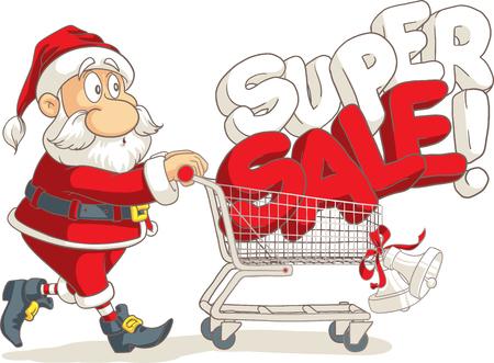 shopping buggy: Santa Claus Super Sale Vector Cartoon Illustration