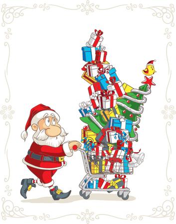 shopping buggy: Santa Claus with Shopping Cart Vector Cartoon