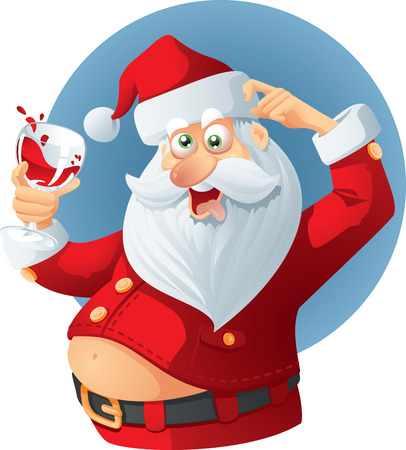 clothes cartoon: Drunk Santa Claus Vector Cartoon