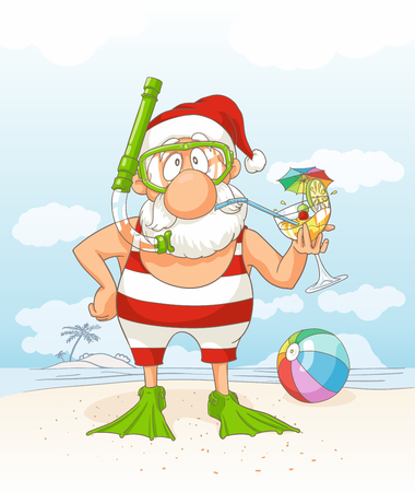 Santa Claus on Summer Holiday Vector Cartoon Çizim