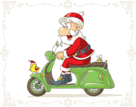 free christmas: Santa Claus on a Scooter Vector Cartoon
