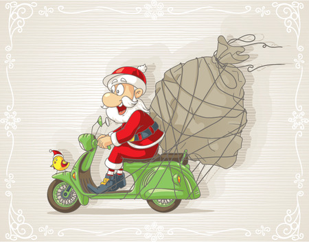 drive: Santa Claus on a Scooter with Gift Bag Vector Cartoon Illustration