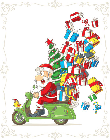 Santa Claus on Scooter Silly Vector Cartoon