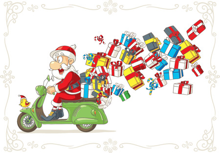 weihnachtsmann lustig: Weihnachtsmann mit Geschenken auf Roller Vector Cartoon