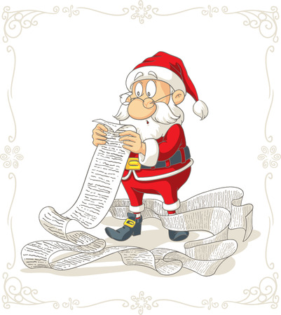 humor: Santa Claus Reading Big Presents Wishlist Vector Cartoon Illustration