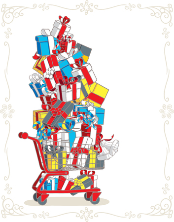 Shopping Cart Stacked with Presents Vector Cartoon
