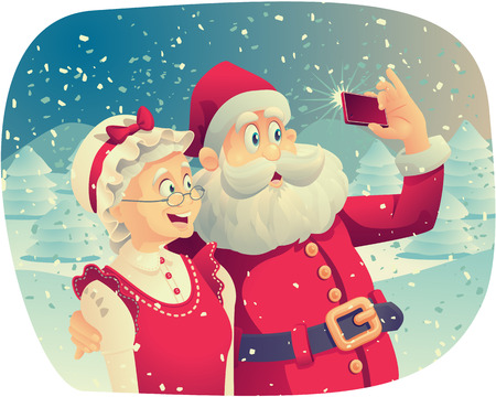 telephone cartoon: Santa Claus and Mrs. Claus Taking a Photo Together Illustration
