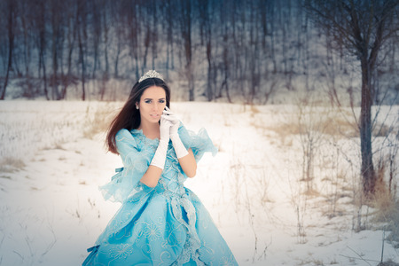 Beautiful Snow Queen in Winter Decor