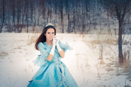 maquillaje de fantasia: Reina de las Nieves hermosa en la decoraci�n de invierno Foto de archivo