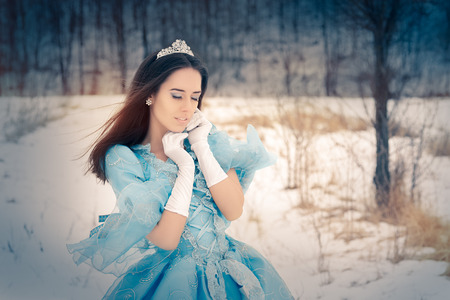 young  brunette: Beautiful Snow Queen in Winter Decor