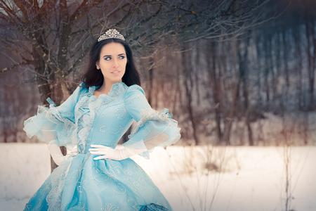 corona de reina: Reina de las Nieves hermosa en la decoraci�n de invierno Foto de archivo