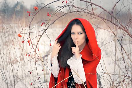 guardar silencio: Invierno Princesa Holding un gesto silencioso Making Secret