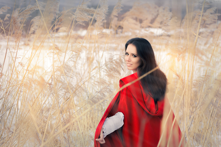 Beautiful Lady in Red Cape in Winter Decor Imagens