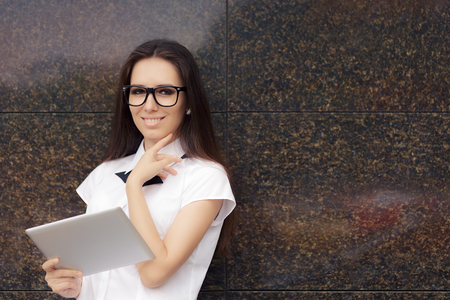 personable: Elegant Woman Wearing Glasses with PC Tablet