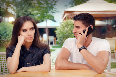 unhappy man: Angry Girl Listening to Her Boyfriend Talking on The Phone
