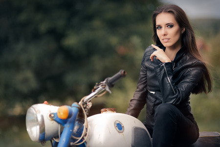 fashion girl style: Biker Girl in Leather Jacket on Retro Motorcycle