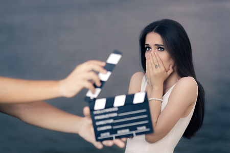 Scared Actress Shooting Movie Scene