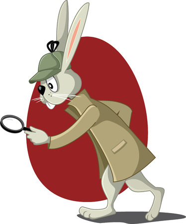 cartoon hare: Detective Rabbit with Magnifying Glass Vector Cartoon