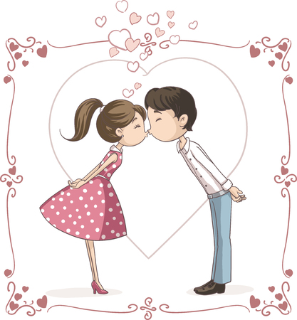girl in love: Couple Kissing Vector Cartoon