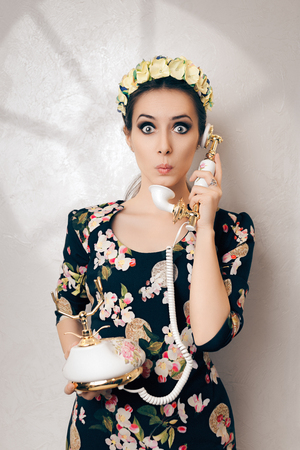 talker: Surprised Retro Woman With Vintage Phone