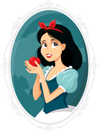 Snow White Holding Apple Vector Illustration